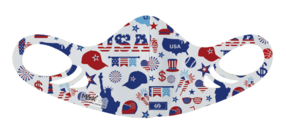 An antimicrobial, breathable, comfortable and washable USA July 4th party pattern spacer face mask for kids